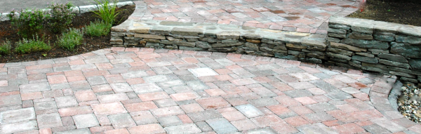 Patio Paver Prices Mix Blend Paver Patio Design Installed In Winchester,  MA. The Gray Pavers In The Patio Compliment The Newly Installed Field Stone  Wall.
