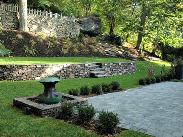 terraced backyard landscape water feature